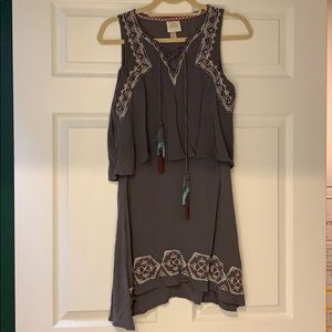 Gray Dress with colored Detailing